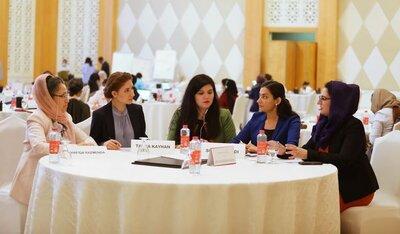 [Translate to English:] Women Leaders Peace Summit in November 2020 in Doha © OXUS TV/Tanya Kayhan