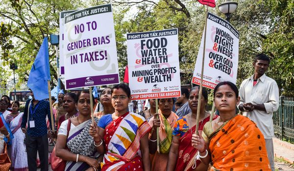 Women protesting for tax justice in India.